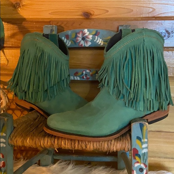 Liberty Black green fringe bootie